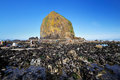 Haystack rock and canon beach Stock Photo