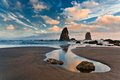 Haystack rock at sunset cannon beach oregon Royalty Free Stock Photos