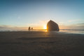 Haystack Rock at Sunset in Cannon Beach, Oregon Royalty Free Stock Photo