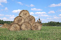 Haystacks on the farm in field a sunny day Stock Photography