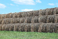 Haystacks on the farm in field a sunny day Stock Image