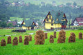 Haystacks on the field in zakopane poland Royalty Free Stock Photo