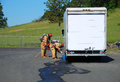 Haz mat entry fire fighters making a on site recon of a truck leaking fluid the hazardous materials team trains on a recent Stock Photos