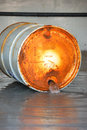 Haz mat entry leaking barrel from bung at a a hazardous materials drill Stock Images