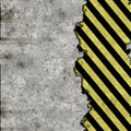 Hazard stripes torn wall Stock Photo