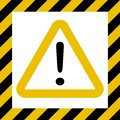 Hazard symbol sign, exclamation mark, warn caution construction, vector striped background, hazard mark safety, Attention Royalty Free Stock Photo