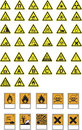 Hazard symbols and warnings Royalty Free Stock Photography