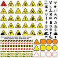Hazard warning attention sign with exclamation mark symbol information and notification icons vector. Royalty Free Stock Photo