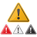 Hazard warning attention sign set. Danger sign. Exclamation point Royalty Free Stock Photo