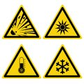 Hazards signs set