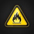 Hazard warning triangle highly flammable warning sign Royalty Free Stock Photo