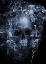 Hazardous smoke photo montage of a human skull surrounded by cigarette Stock Photography