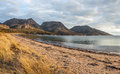 The Hazards Mountain Range from Coles bay, Tasmania. Royalty Free Stock Photo