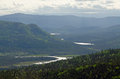 Haze between the mountains in gros morne national park newfoundland Stock Image