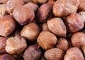 Hazel nuts closeup of a pile of Stock Photo