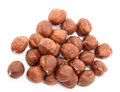Hazelnut group of nuts on a white background Stock Images