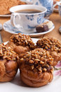 Hazelnut and peanut cakes with coffee Stock Photography