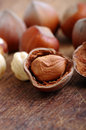 Hazelnuts filbert on old wooden background Royalty Free Stock Photography