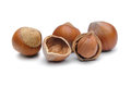 Hazelnuts isolated on a white background Royalty Free Stock Photo