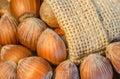 Hazelnuts with jute bag arrangement of Stock Photos