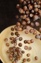 Hazelnuts in Motion Tumbling into Bamboo Bowl Royalty Free Stock Images