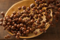 Hazelnuts in Motion Tumbling into Bamboo Bowl Stock Photo