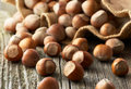 Hazelnuts on old wooden background filbert Stock Photo