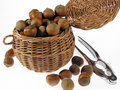 Hazelnuts in wicker basket Stock Photos