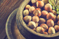 Hazelnuts on wooden background Royalty Free Stock Photo