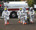 Hazmat team members the right stuff in any urban area fire departments and emergency response teams will conduct disaster Stock Image