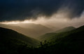 Hazy evening view of the blue ridge mountains from the blue ridg parkway near craggy gardens in north carolina Stock Images