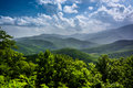 Hazy summer view of the appalachian mountains from the blue ridg ridge parkway in north carolina Stock Photos