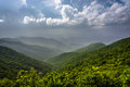 Hazy summer view of the appalachian mountains from the blue ridg ridge parkway in north carolina Stock Photography