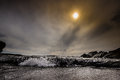 Hazy sun a over hay s beach in shetland Royalty Free Stock Photo