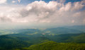 Hazy view of the shenandoah valley from little stony man cliffs virginia in national park Stock Photo