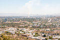 Hazy view of windhoek from the south namibia june a with several veld fires and dust storms polluting air Royalty Free Stock Images