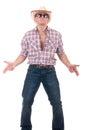 Hübscher Mann mit Cowboyhut Stockfotografie