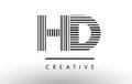 HD H D Black and White Lines Letter Logo Design.