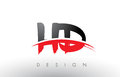 HD H D Brush Logo Letters with Red and Black Swoosh Brush Front