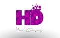HD H D Dots Letter Logo with Purple Bubbles Texture.