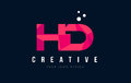 HD H D Letter Logo with Purple Low Poly Pink Triangles Concept