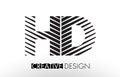 HD H D Lines Letter Design with Creative Elegant Zebra