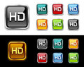 HD tv buttons and icon. Royalty Free Stock Image