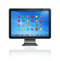 Hd tv computer apps icons interface d on white with clipping path Royalty Free Stock Images