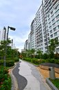 Hdb flat architecture singapore flats in with sleek modern design and lush garden landscaping Royalty Free Stock Images