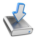 HDD drive and arrow. Upload data icon 3D Stock Photos