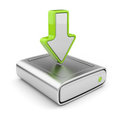 HDD drive and arrow. Upload data icon 3D Stock Photography