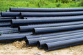 Hdpe pipe for water supply at construction site Royalty Free Stock Photography