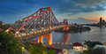 Hdr brisbane bridge at dusk and stitched imageof story on a hot day Royalty Free Stock Photography