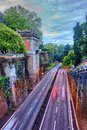 Hdr highway in rome italy dusk traffic the old city walls of ancient viale del muro torto Stock Photography